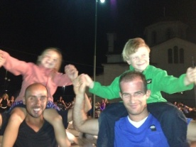 It's hard to do Greek dancing on shoulders - but they tried