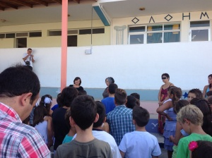 The principal addressing the school