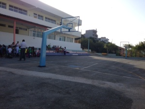 This is us waiting for our teacher & we played 'basket'
