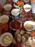 Broccoli soup with very fresh bread, raw veggies and of course -tzatziki