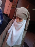 Such a variety of head coverings in Morocco from nothing much at all to tiny eye holes - very intriguing