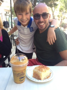 This is what Chich had for brekky the last day - frappe and galakotbouriko