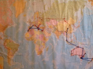 This is a map we made baba for Fathers' Day and has been on our wall - the red lines are land travel and the blue lines are air travel