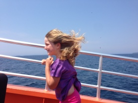 A speed boat back from Flower pot island - hair drying for free!